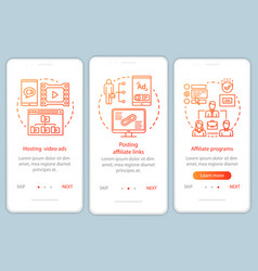 Affiliate marketing orange onboarding mobile app vector