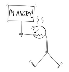 angry person walking with im sign cartoon vector image