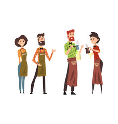 Barista characters set cafe staff in uniform vector