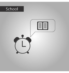 Black and white style icon of book alarm clock vector