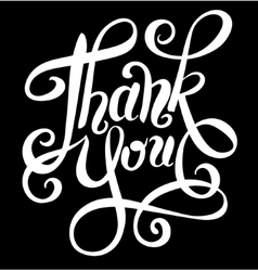 black and white thank you handwritten lettering vector image