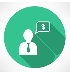 Businessman talk about money icon vector