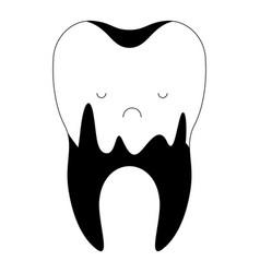 Caries in root kawaii tooth in black vector