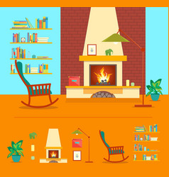 cartoon fireplace interior for house vector image
