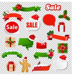 Christmas set transparent background vector