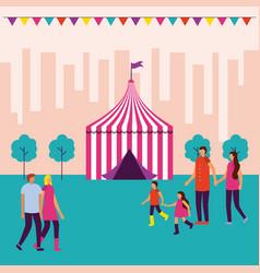 circus people fair vector image