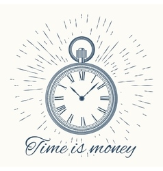clock and vintage sun burst frameTime is money vector image