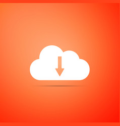 cloud download icon isolated on orange background vector image