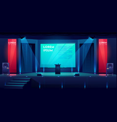 Conference hall stage for presentation scene vector