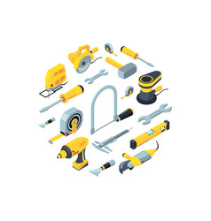 Construction tools isometric icons in vector