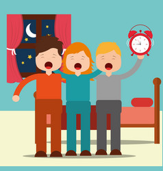 Cute boys and girl waking up hugging in bedroom vector