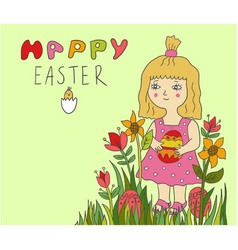 Cute little child girl holding painted egg in vector