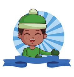 cute winter boy cartoon vector image