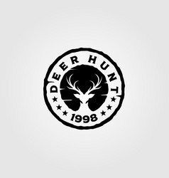 deer hunt vintage logo design vector image
