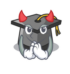Devil graduation hat mascot cartoon vector