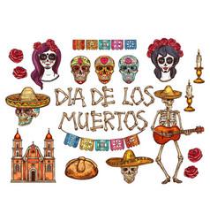 Dia de muertos mexican day dead sketch symbols vector