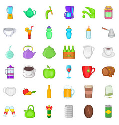 Different beverage icons set cartoon style vector