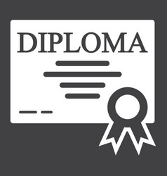 Diploma solid icon education and certificate vector