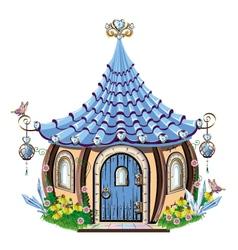 Fairytale house with blue crystals vector