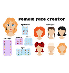 Female face creator set vector