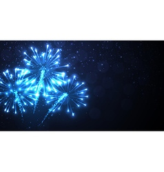 Festive blue firework background vector