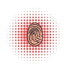 Fingerprint icon comics style vector image