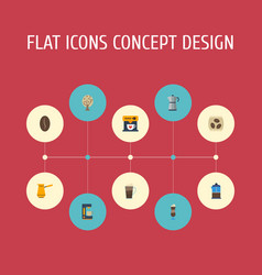flat icons package latte timber espresso vector image