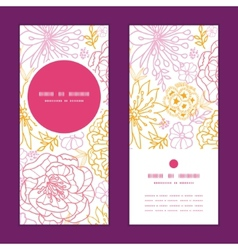 Flowers outlined vertical round frame pattern vector