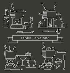 Fondue linear icons set vector