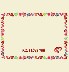 frame of hearts on a yellow background with text vector image