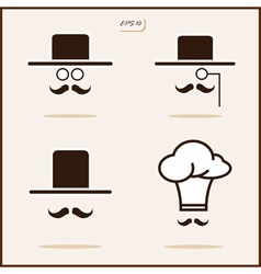 Gentleman with a mustache and hat Cap vector