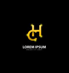 Gold letter h logo hc letter design with golden vector