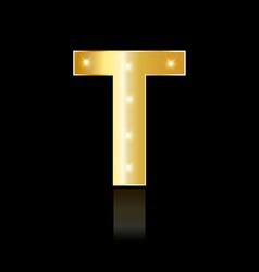 golden letter t shiny symbol vector image