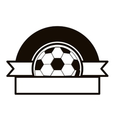 Gray scale emblem half with soccer ball and ribbon vector
