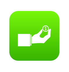 hand holding the money coin icon digital green vector image