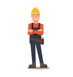 Handyman standing and smiling vector