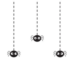 Hanging black spiders silhouette on dash line web vector
