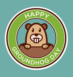 happy groundhog day badge vector image