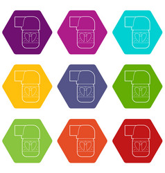 Inhaler for lung icons set 9 vector