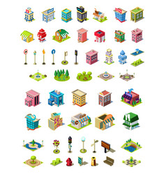 Isometric icons set for city constructor vector