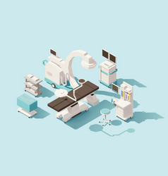 isometric low poly operating room vector image