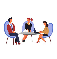 job interview employment man and women table vector image