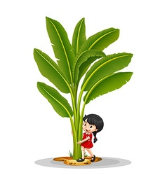 Little girl and banana tree vector