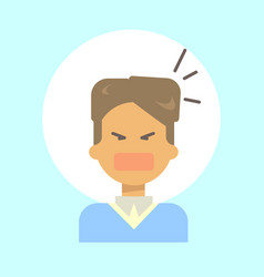 Male screaming emotion profile icon man cartoon vector