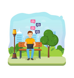 Man running remotely on freelance on bench in vector