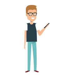 Man using smartphone character vector