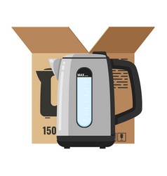 Modern electric kettle isolated on white vector