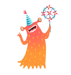 monster for kids with pinwheel or windmill party vector image