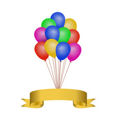 multicolored helium balloons with a golden ribbon vector image