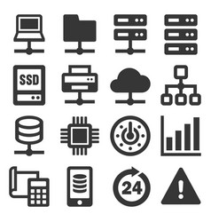 network and hosting icons set on white background vector image